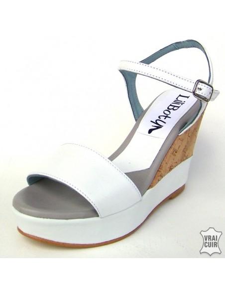 "Sandales ""Nina"" liège et blanc petite pointure femme 32 33 34 35"