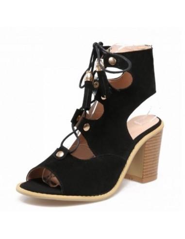 """Sandales à lacets """"Boheme"""" Noir petite pointure femme 33 34 35"""