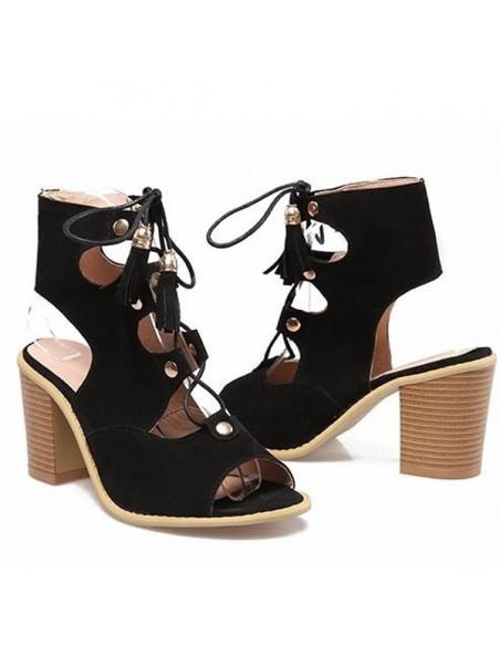 """Sandalias negras con cordones """"Boheme"""" para mujer talla pequeña 33 34 35"""
