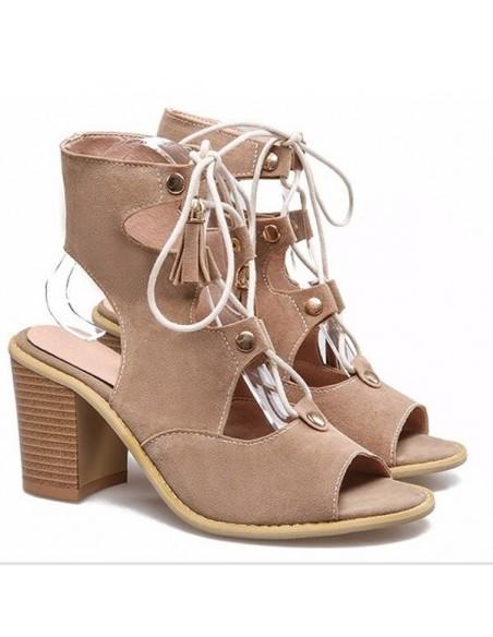 """Sandales à lacets """"Boheme"""" beige petite pointure femme taille 33 34 35"""