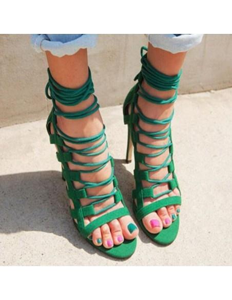 """Sandales à lacets """"Paloma"""" vert en petite pointure femme 33 34"""
