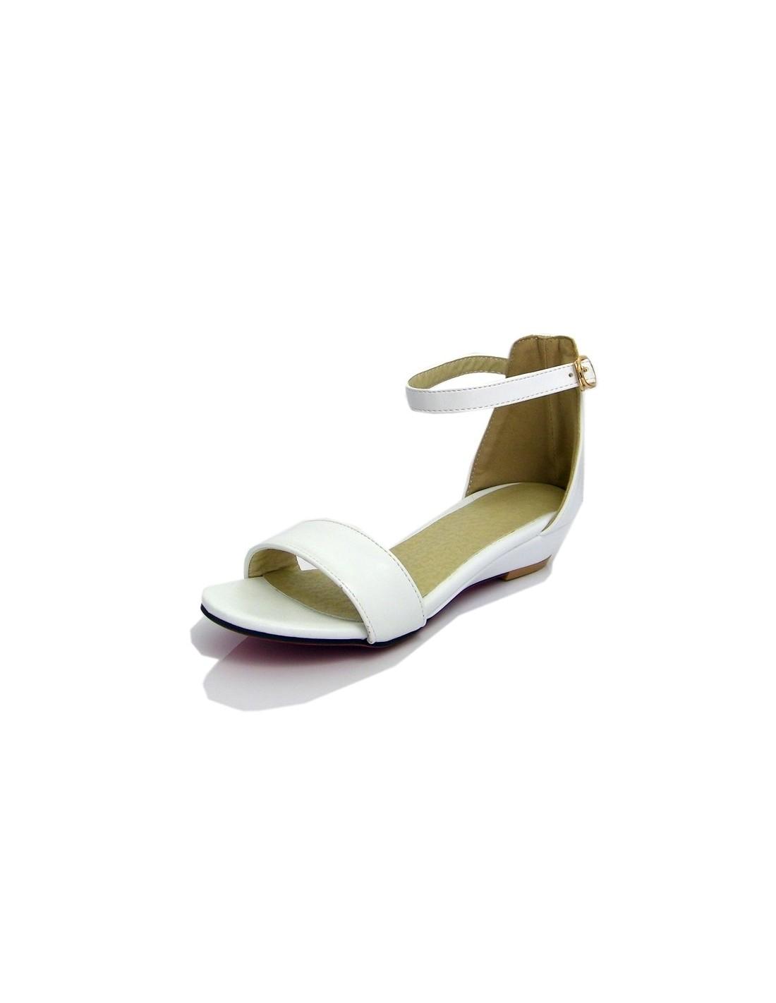 acheter en ligne 95d4b 467c6 Sandales femme à petit talon compensé, blanc pointure 32 33 34