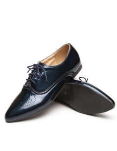 Derby shoes small size woman blue metal