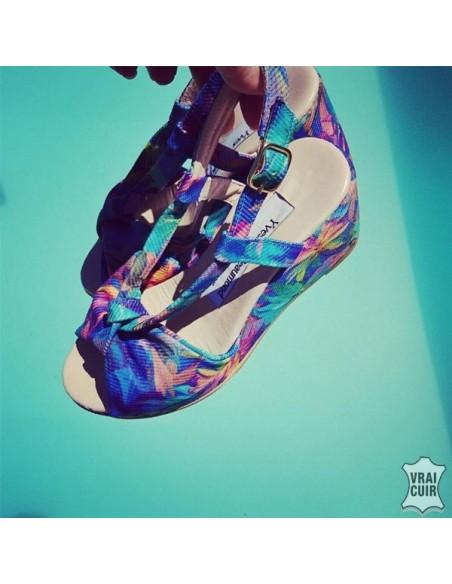 Sandales Lillo Blue petite poiture femme yves de beaumond couleur