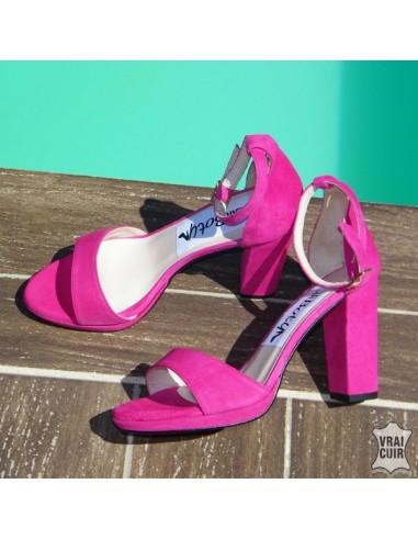 Sandales tendance petite pointure femme rose fuschia