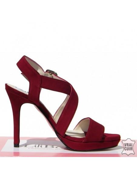 Sandales rouges hauts talons petite pointure femme