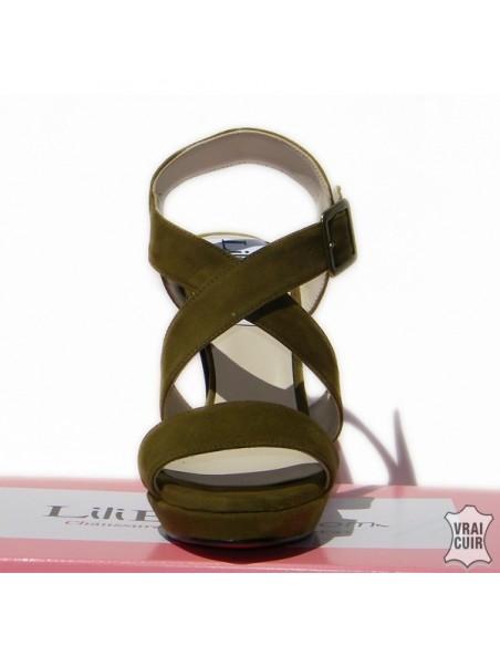 Sandales kaki hauts talons en petite pointure pour  femme liliboty
