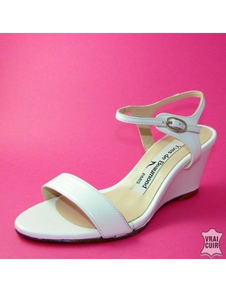 Sandales à talons compensés blanc petite pointure femme yves de beaumond