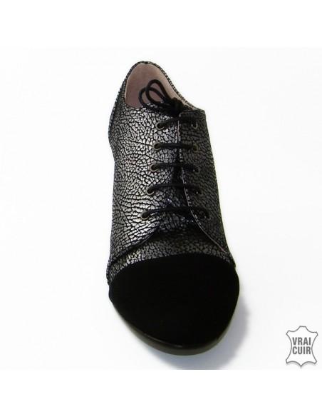 chaussures petites pointures femmes, cuir, yves de beaumond, Derbies noires et argentées