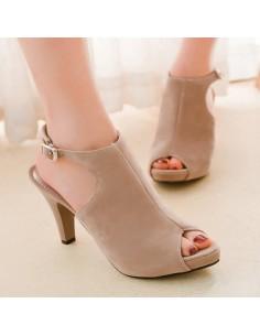Zapatos abiertos beige en mujeres de talla pequeña