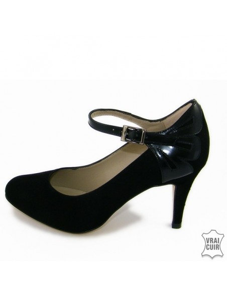 "Escarpins à bride noirs ""F2395"" petite pointure femme cuir brenda zaro"
