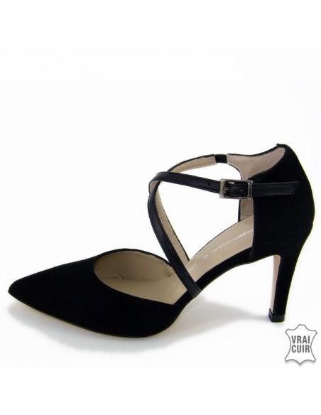 Escarpins à bride noirs  petite pointure femme cuir brenda zaro