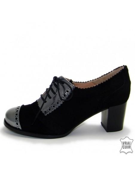 """petites pointures femme zoo calzados Derbies noires à talons """"ZC0063"""""""