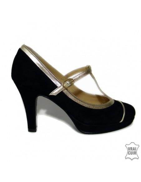 Souliers noirs et dorés yves de beaumond petites pointures femme chaussures