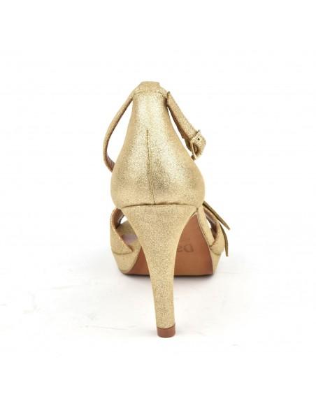 Sandales habillées, cuir glitter or, 8478, Dansi