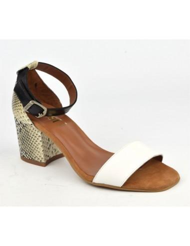 Sandales cuir blanc et serpent, 8539, Dansi, femme petits pieds
