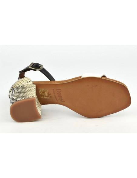 Sandales cuir blanc et serpent, 8539, Dansi