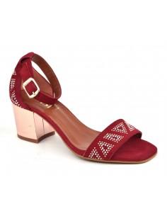 Sandales daim rouge, 8381, Dansi, femme petites tailles