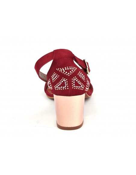 Sandales daim rouge, 8381, Dansi