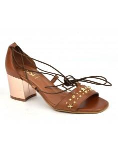 Sandalias lisas de cuero marrón, 8382, Dansi, mujer pequeña
