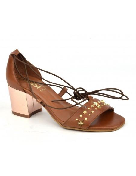 Sandales cuir lisse marron, 8382, Dansi, femme petite taille