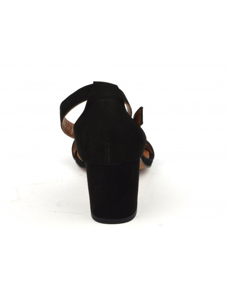 Sandales cuir daim noir, 8359
