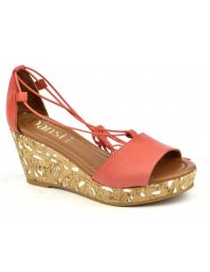 Sandales compensées cuir lisse corail, 8330, Dansi, femmes petites pointures