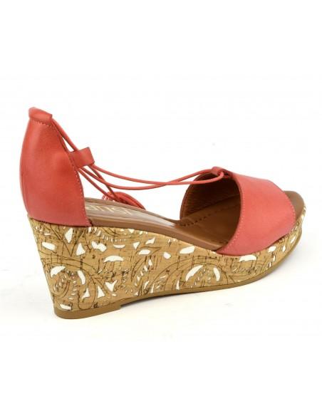 Sandales compensées cuir lisse corail, 8330, Dansi
