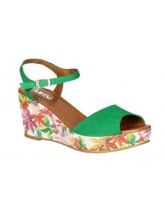 Sandales compensées, daim vert, 8332, Dansi, femme petites pointures