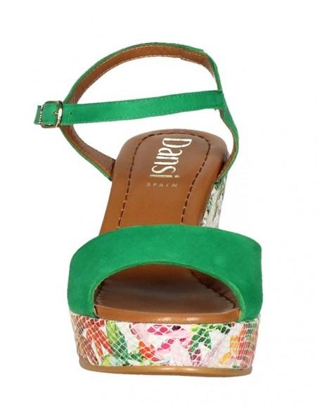 Sandales compensées, daim vert, 8332, Dansi