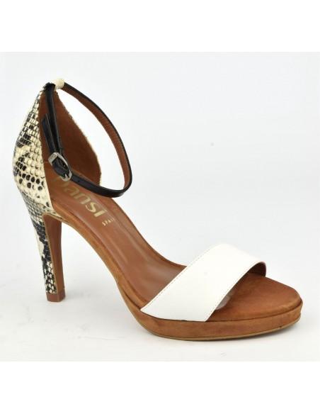 Sandales cuir blanc et serpent, 8483, Dansi, femme petits pieds