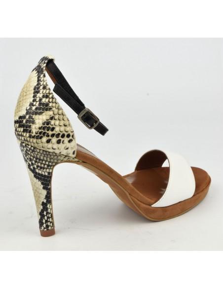Sandales cuir blanc et serpent, 8483, Dansi