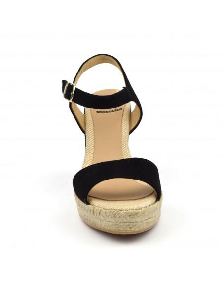Sandales compensées, daim noir, Agnes, Toni Pons