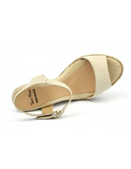 Sandales compensées, daim beige, Agnes, Toni Pons