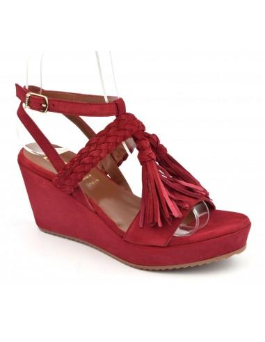 Sandales compensées daim rouge, 5004, Dansi, femme petites pointures