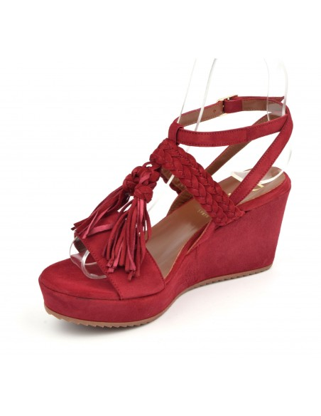 Sandales compensées daim rouge, 5004, Dansi