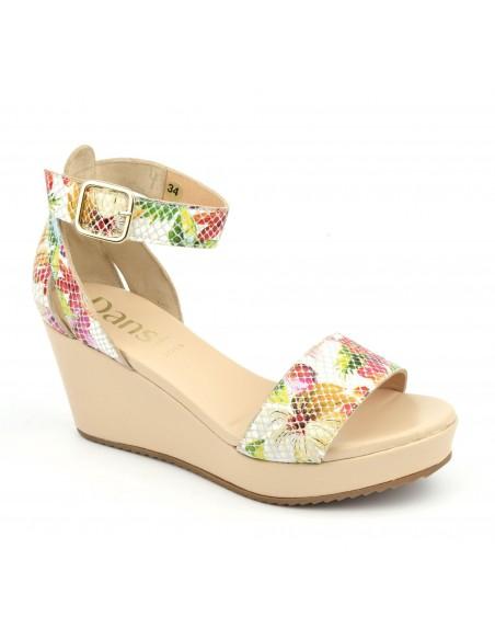 Sandales compensées beiges et fleuries, 5075, Dansi, femme petite pointure
