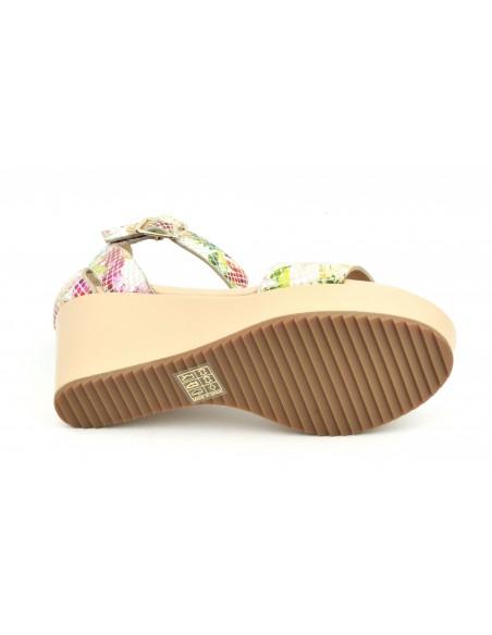 Sandales compensées beiges et fleuries, 5075, Dansi