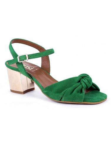 Sandales talons carrés, daim vert, 8376, Dansi