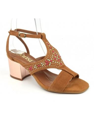 Sandales talons carrés, daim camel, 8377, Dansi, femme petites pointures
