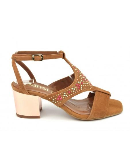 Sandales talons carrés, daim camel, 8377, Dansi