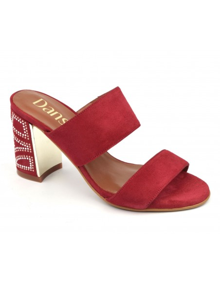 Mules  bouts ouverts, daim rouge, 8504, Dansi, taille 33