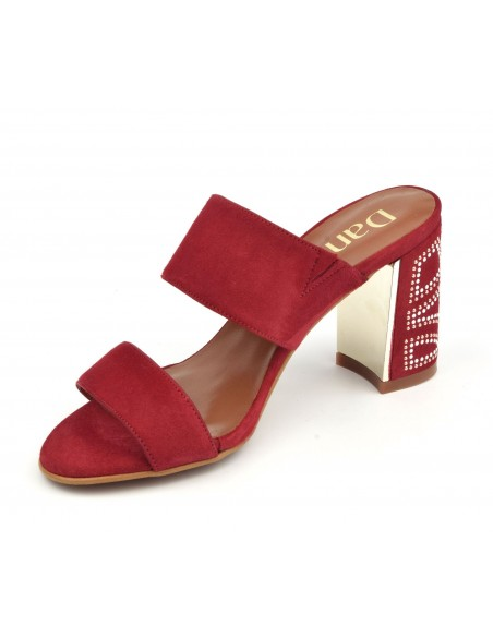 Mules  bouts ouverts, daim rouge, 8504, Dansi