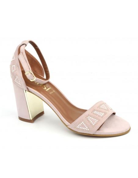 Sandales cuir daim rose poudré, 8503, Dansi, petits pieds, 32