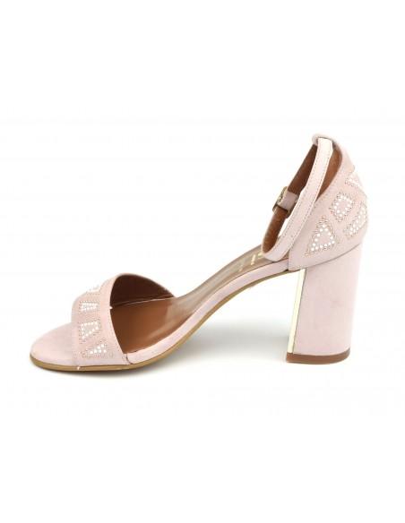 Sandales cuir daim rose poudré, 8503, Dansi