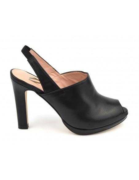 Sandales plateforme, cuir lisse noir, ZC0290, Zoo Calzados