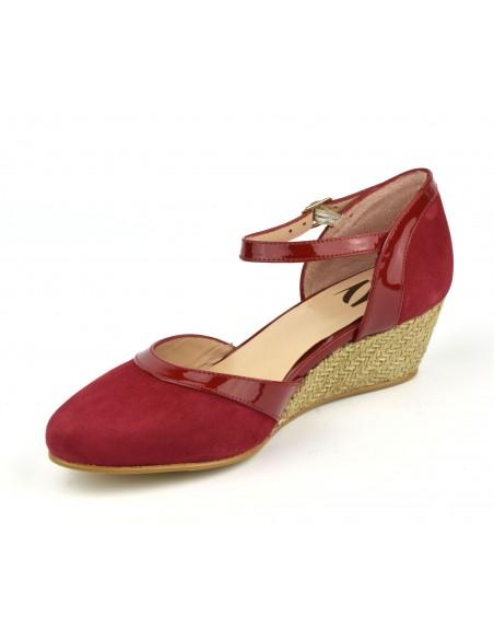 Chaussures talons compensés, cuir daim rouge, ZC0101w, Zoo Calzados