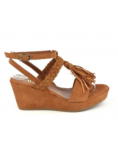 Sandales compensées daim marron cognac, 5004, Dansi, petites pointures