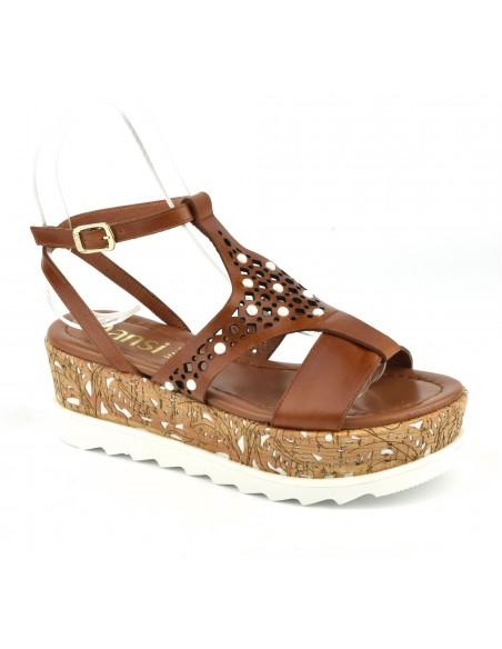 Sandales plateforme cuir mat marron, 8255, Dansi, chaussure femme petite pointure