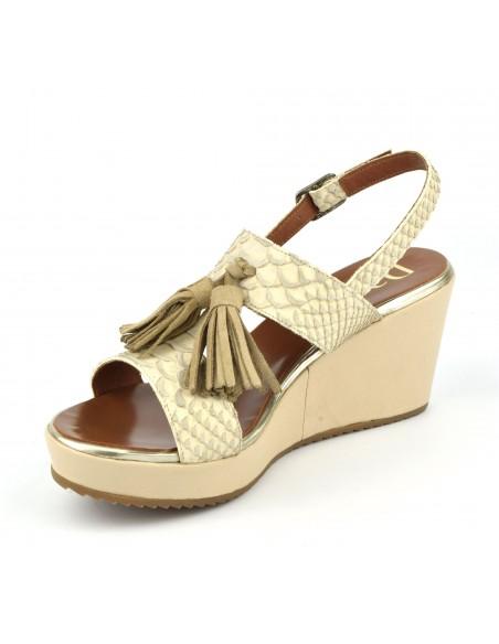 sandales compens es cuir beige nude 5225 dansi. Black Bedroom Furniture Sets. Home Design Ideas